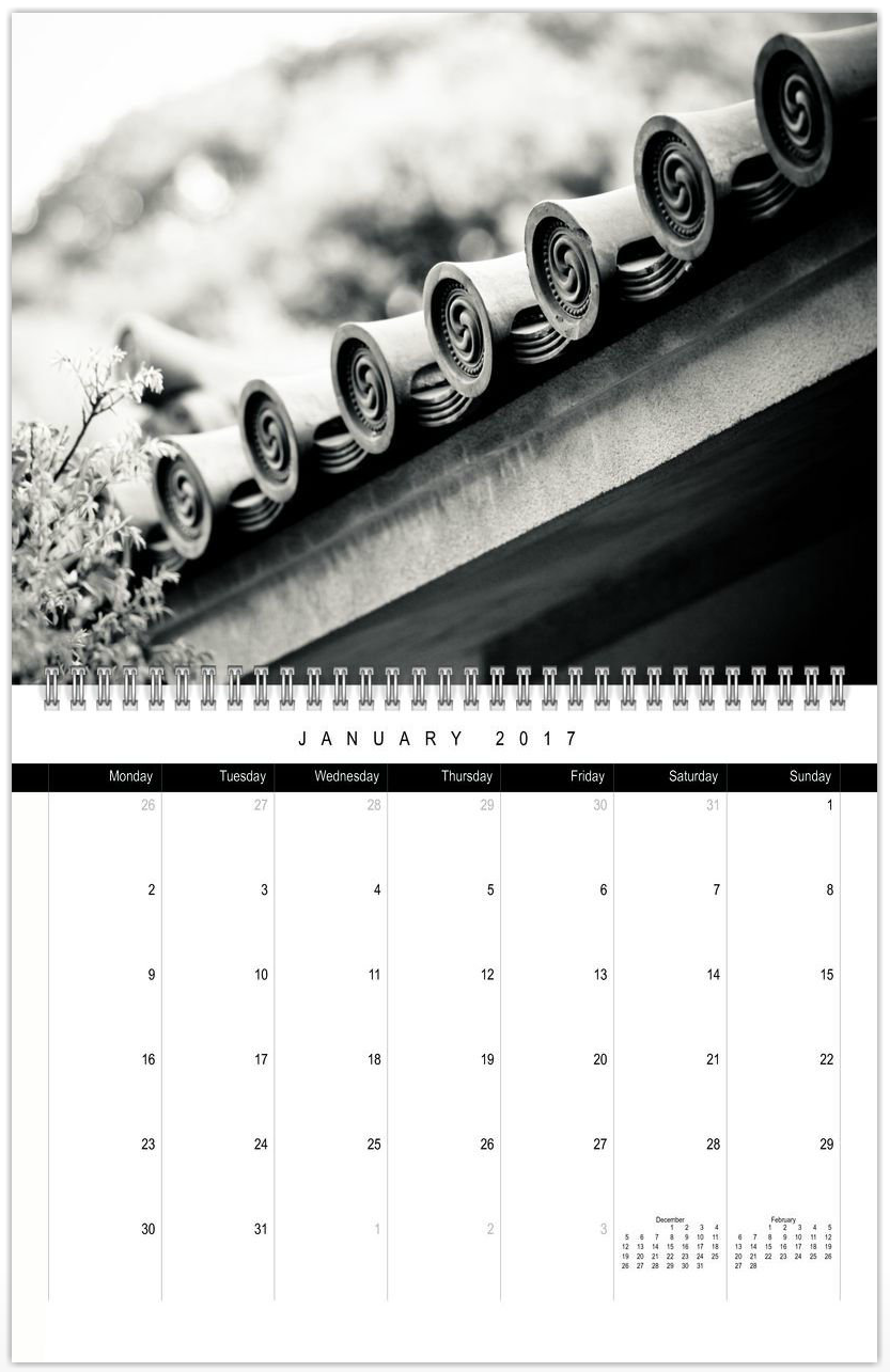 2017 twelve month calendar. Designed with inspiring photos from Japan by photographer Christian Kleiman.