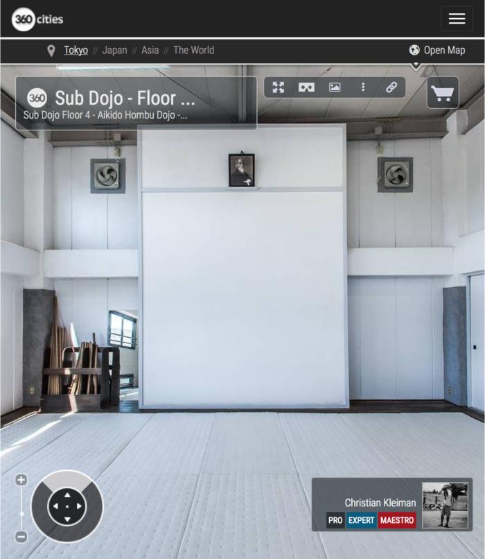 AiKiDo Hombu Dojo - Sub Dojo 4 - Explora mediante una visita virtual la Sede Internacional del AiKiDo en Tokio, Japón - Fotografía 360º © Christian Kleiman