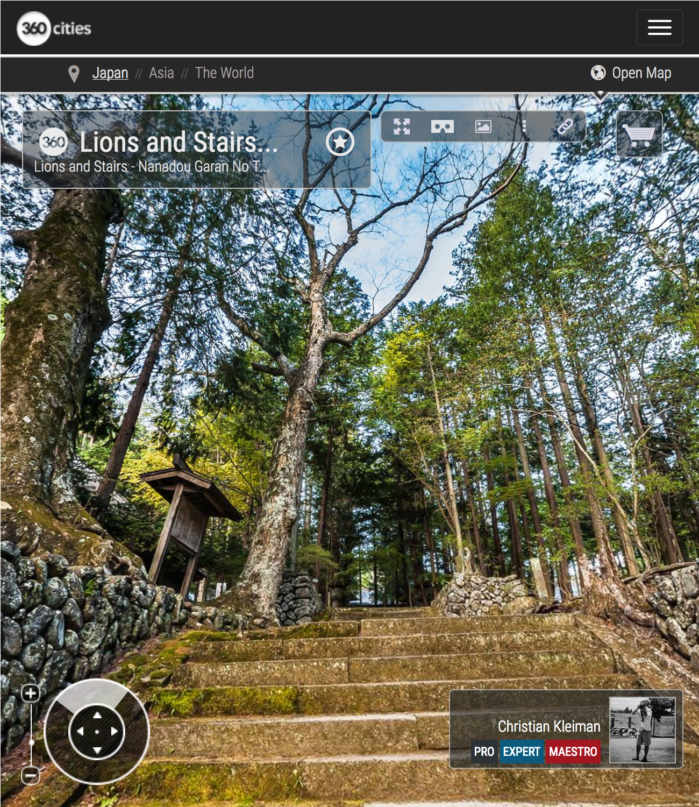 Lions and Stairs - Teisyouji Buddhist Temple - Built in 1521. Area of Sakudaira in Nagano Prefecture, Japan. 360º Photography by © Christian Kleiman