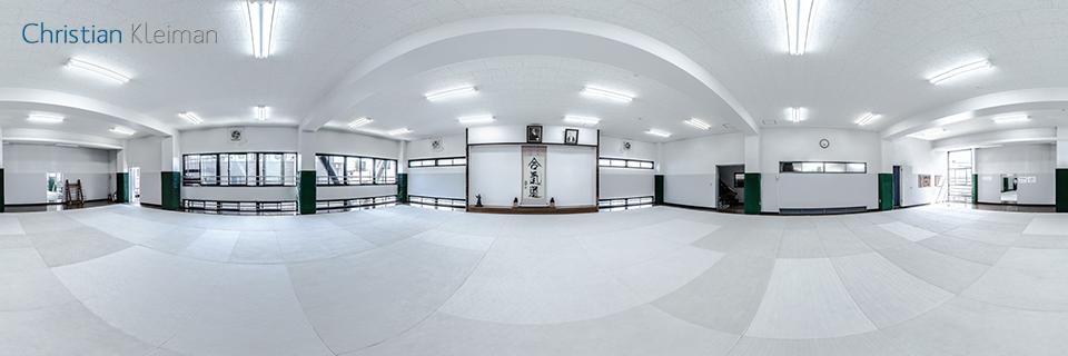 Visita Virtual de AiKiDo Hombu Dojo. Fotografía Panorámica de 360 grados de la Sede Internacional del AiKiDo en Japón. Fotógrafo © Christian Kleiman.