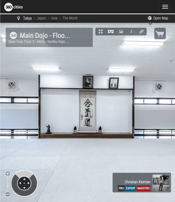AiKiDo Hombu Dojo - Dojo Principal Piso 3 - Sede Internacional del AiKiDo en Tokio, Japón - Fotografía 360º por © Christian Kleiman