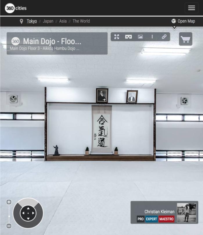AiKiDo Hombu Dojo - Main Dojo Floor 3 - 360º Panoramic Photo from the AiKido International Headquarters in Tokyo, Japan. Photography by © Christian Kleiman