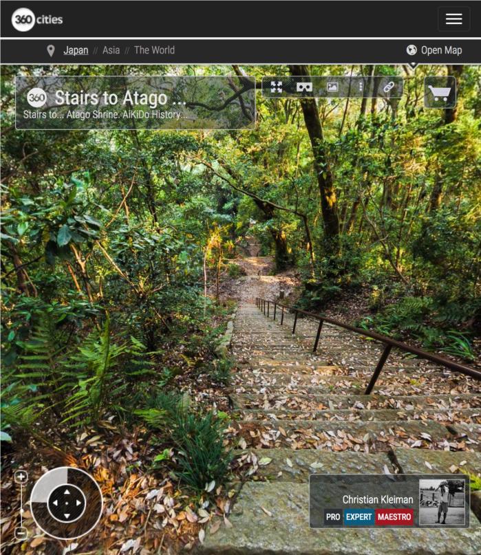 Atago Shrine - Stairway - Explore Atago Jinja with Inmersive 360º Panoramic Photos - AiKiDo - Iwama - Ibaraki - Japan - Photography by © Christian Kleiman